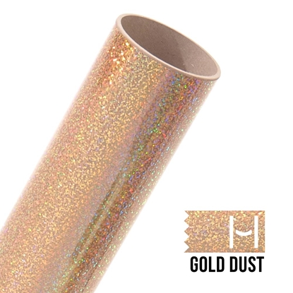 Picture of Happy Face Glitter Iron On Vinyl - Gold Dust Sparkle