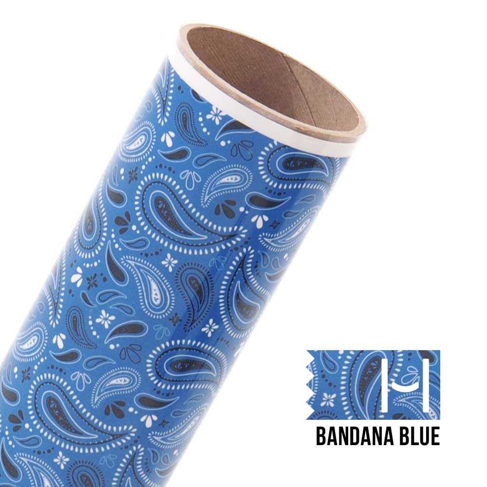 Happy Face Pattern Iron On Vinyl Bandana Blue Happy