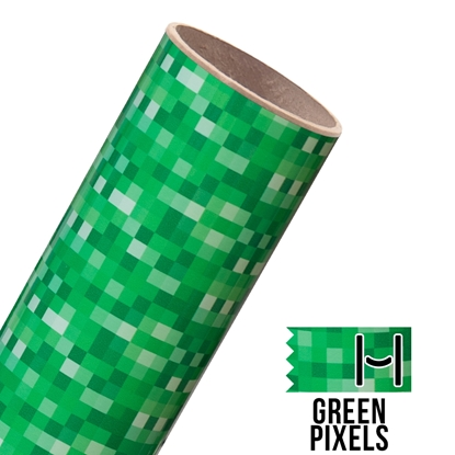Picture of Happy Face Pattern Adhesive Vinyl - Green Pixels