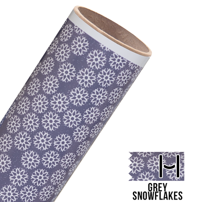 Picture of Happy Face Pattern Adhesive Vinyl - Grey Snowflakes