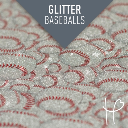 Picture of Happy Face Glitter Pattern Adhesive Vinyl - Baseballs
