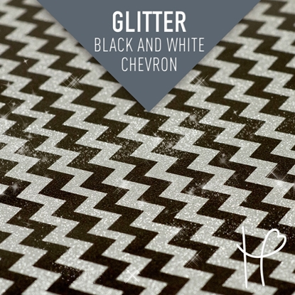 Picture of Happy Face Glitter Pattern Adhesive Vinyl - Black and White Chevron