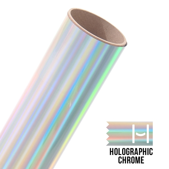 Picture of Happy Face Foil Iron On Vinyl - Holographic Chrome