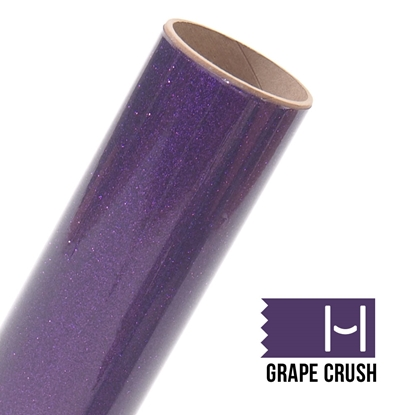 Picture of Happy Face Glitter Iron On Vinyl - Grape Crush Bling