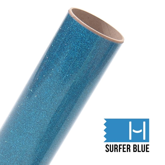 Picture of Happy Face Glitter Iron On Vinyl - Surfer Blue Bling
