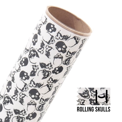 Picture of Happy Face Pattern Iron On Vinyl - Rolling Skulls