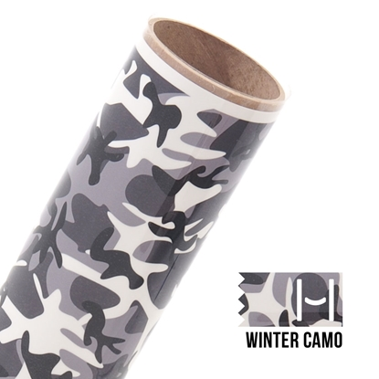 Picture of Happy Face Pattern Iron On Vinyl - Winter Camo
