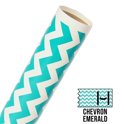 Picture of Happy Face Pattern Adhesive Vinyl - Large Chevron Emerald