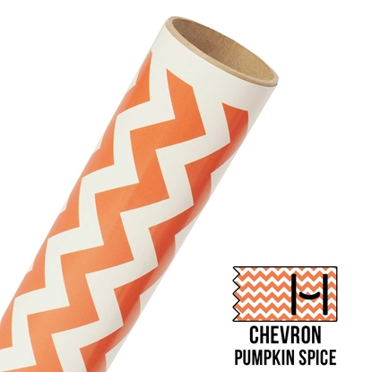 Picture of Happy Face Pattern Adhesive Vinyl - Large Chevron Pumpkin Spice