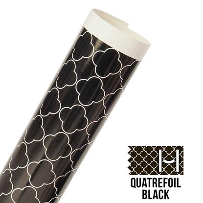 Picture of Happy Face Pattern Adhesive Vinyl - Large Quatrefoil Black