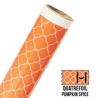 Picture of Happy Face Pattern Adhesive Vinyl - Large Quatrefoil Pumpkin Spice