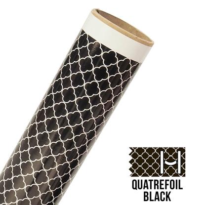Picture of Happy Face Pattern Adhesive Vinyl - Small Quatrefoil Black