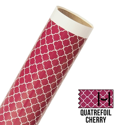 Picture of Happy Face Pattern Adhesive Vinyl - Small Quatrefoil Cherry
