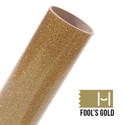 Picture of Happy Face Glitter Iron On Vinyl - Fool's Gold Bling