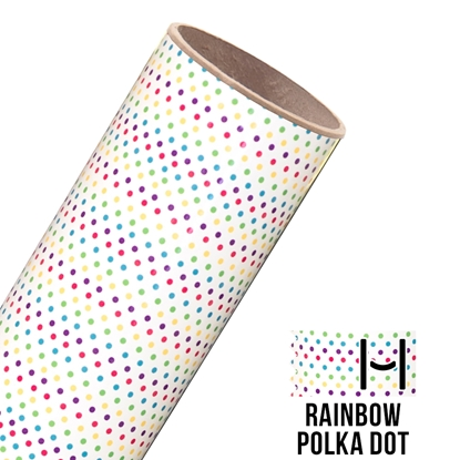 Picture of Happy Face Pattern Adhesive Vinyl - Rainbow Polka Dots