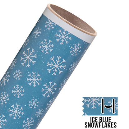 Picture of Happy Face Pattern Adhesive Vinyl - Ice Blue Snowflakes