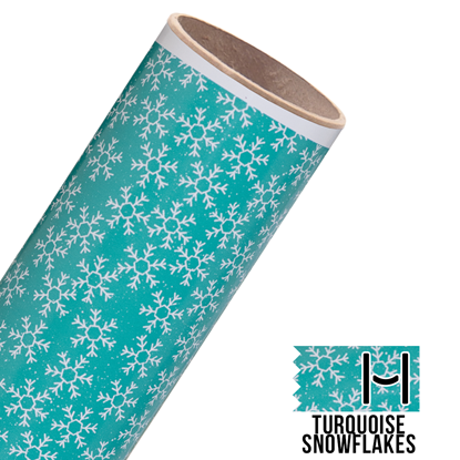 Picture of Happy Face Pattern Adhesive Vinyl - Turquoise Snowflakes