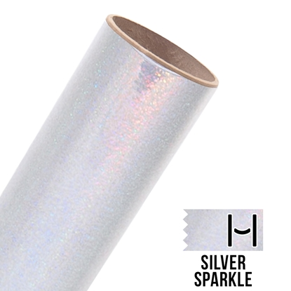 Picture of Happy Face Foil Adhesive Vinyl - Silver Sparkle