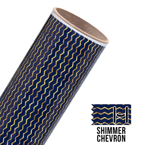 Picture of Happy Face Pattern Adhesive Vinyl - Shimmer Chevron Navy