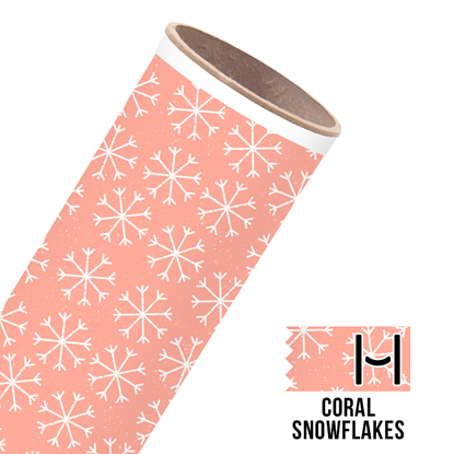 Picture of Happy Face Pattern Adhesive Vinyl - Coral Snowflakes