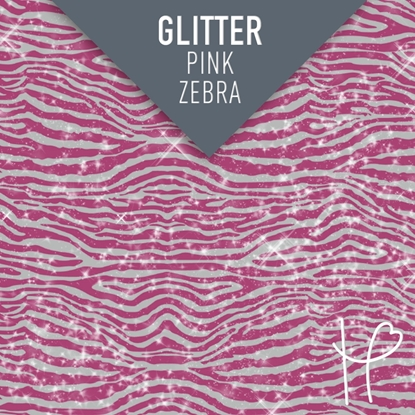 Picture of Happy Face Glitter Pattern Adhesive Vinyl - Pink Zebra