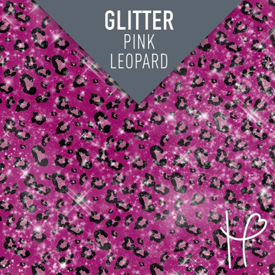 Picture of Happy Face Glitter Pattern Adhesive Vinyl - Pink Leopard