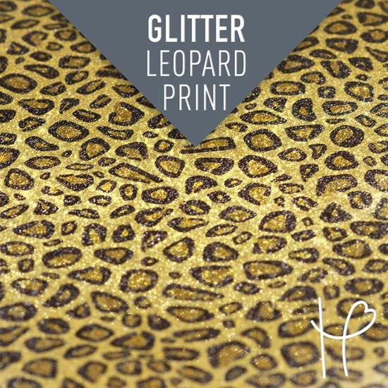 Picture of Happy Face Glitter Pattern Adhesive Vinyl - Leopard