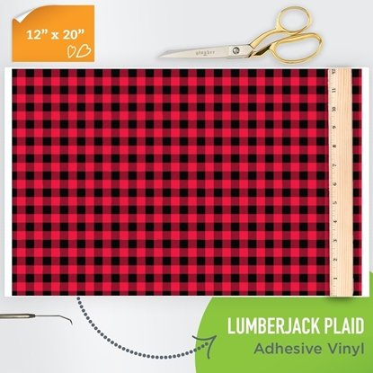 Picture of Happy Face Pattern Adhesive Vinyl - Lumberjack