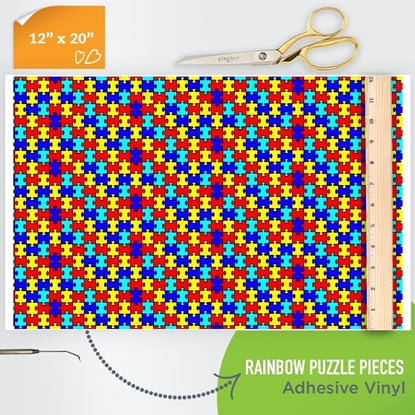 Picture of Happy Face Pattern Adhesive Vinyl - Rainbow Puzzle Pieces