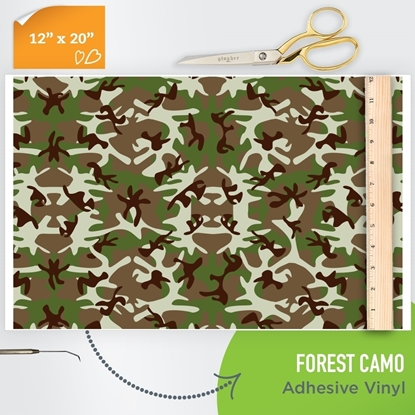 Picture of Happy Face Pattern Adhesive Vinyl - Forest Camo