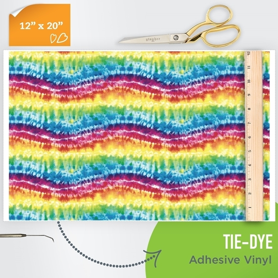 Picture of Happy Face Pattern Adhesive Vinyl - Tie-Dye