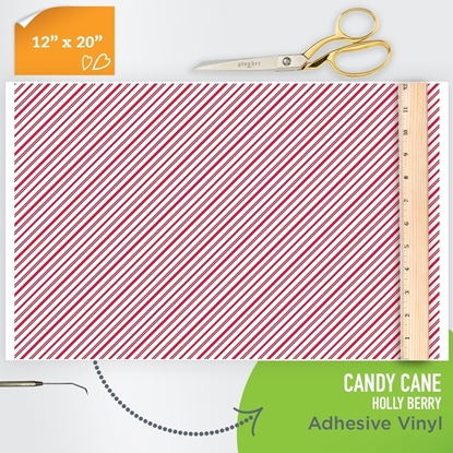 Picture of Happy Face Pattern Adhesive Vinyl - Candy Cane Holly Berry