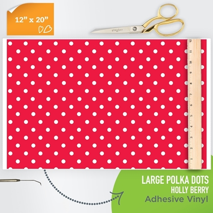 Picture of Happy Face Pattern Adhesive Vinyl - Large Polka Dot Holly Berry