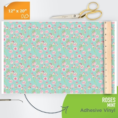 Picture of Happy Face Pattern Adhesive Vinyl - Roses - Mint