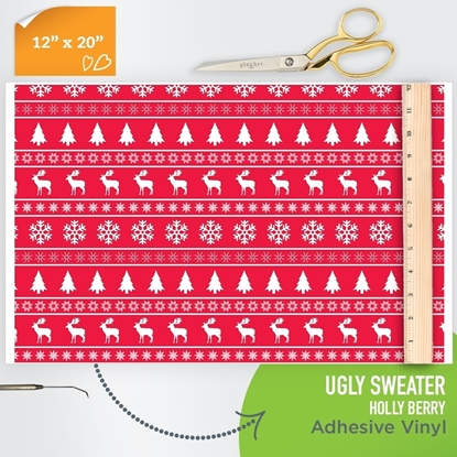 Picture of Happy Crafters Pattern Adhesive Vinyl - Ugly Sweater Holly Berry