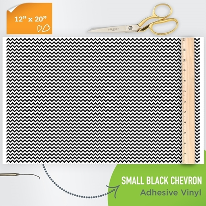 Picture of Happy Crafters Pattern Adhesive Vinyl - Small Chevron Black