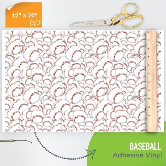 Picture of Happy Face Pattern Adhesive Vinyl - Baseball