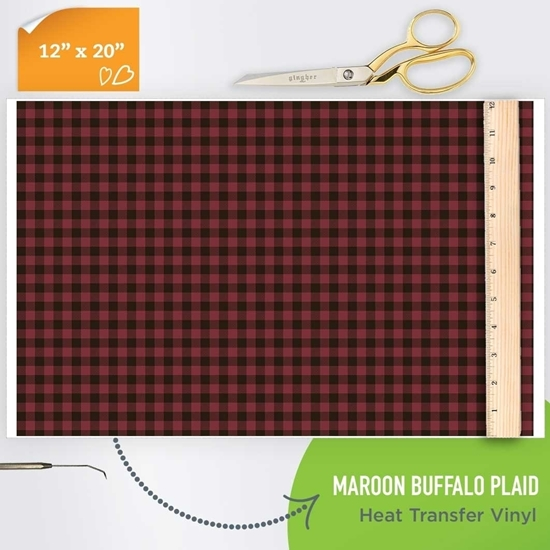 Picture of Happy Crafters Pattern HTV - Maroon Buffalo Plaid