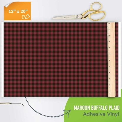 Picture of Happy Face Pattern Adhesive Vinyl - Maroon Buffalo Plaid