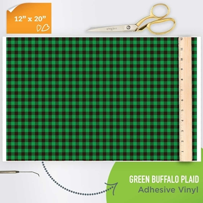 Picture of Happy Face Pattern Adhesive Vinyl - Green Buffalo Plaid