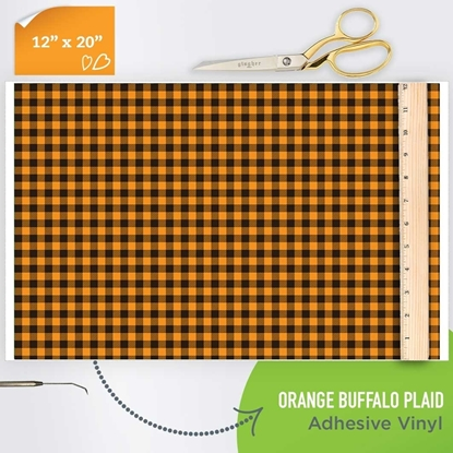 Picture of Happy Face Pattern Adhesive Vinyl - Orange Buffalo Plaid