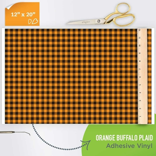 Picture of Happy Face Pattern Adhesive Vinyl - Orange Buffalo Plaid