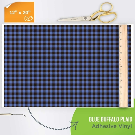 Picture of Happy Face Pattern Adhesive Vinyl - Blue Buffalo Plaid