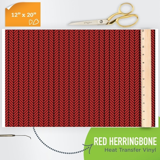 Picture of Happy Crafters Pattern HTV - Red Herringbone